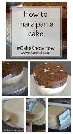 How to marzipan a cake tutorial - Step by step guide to achieving the perfectly smooth finish for your cake including tips for using every day equipment instead of expensive specialty cake decorating tools. Cake Decorating Techniques, Cake Decorating Tutorials, Decorating Ideas, Baking Recipes, Cake Recipes, Dessert Recipes, Desserts, Cake Decorating Equipment, Marzipan Cake