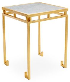 Rossmoor Marble Side Table, Gold