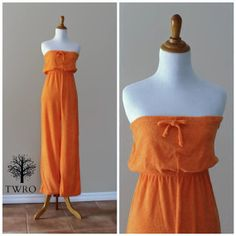 Vintage 70s Orange Terry Cloth Palazzo Jumpsuit by TheRubyOlive, $50.00