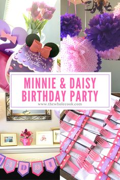 Minnie & Daisy Birthday Party: Thinking about having a Minnie and Daisy themed birthday party for your little one? Check out these ideas! They're all pink, purple, and adorable!