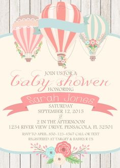 Hot Air Balloon Shower Invite Vintage Hot Air by asusanleedesign