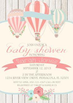 Hot Air Balloon Shower Invite Vintage Hot Air by asusanleedesign
