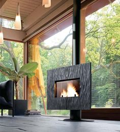 Find out all of the information about the INVICTA product: wood heating stove / cast iron / contemporary / 8 kW GAYA SLATE by B. Foyers, Interior Exterior, Interior Design, Design Interiors, Indoor Outdoor Fireplaces, Chalet Design, Multi Fuel Stove, Log Burner, Buy Wood