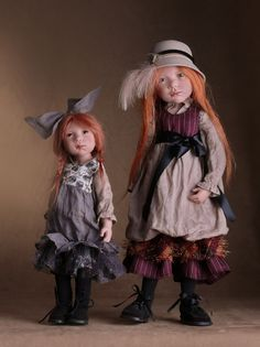Zwergnase Dolls and Bears by Nicole Marschollek...left-Mimi-Luis  Right Ann-Theres