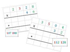 Cartes Montessori pour multiplication posée à deux chiffres