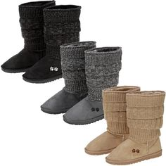 Like your favorite sweater, this cozy knitted boot is timeless! Featuring knitted folds of fabric and a faux-suede exterior, these softly lined scrunch boots also speak to your passion for animal causes with the embroidered paw prints on each side.
