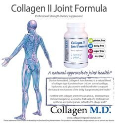Collagen II Joint Formula by Collagen M.D.® is a professional dietary supplement formulated with Collagen Type II Protein, a source of 18 amino acids and a blend of hyaluronic acid, chondroitin, glucosamine to help support the natural mechanisms of the body that maintain joint and cartilage health* Fortified with vitamin C, trace mineral manganese and pomegranate extract, standardized to 70% ellagic acid.* Made in the USA under strict cGMP guidelines and free of gluten, dairy, soy and sugar.