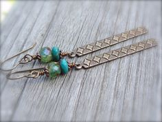 Diamond Patterned Charm Earrings with Green & Teal by Kitschish, $18.00