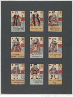 [Copies de cartes d'un jeu de questions et de réponses à emblèmes édité à Paris vers 1650] : [jeu de cartes, impression photomécanique]
