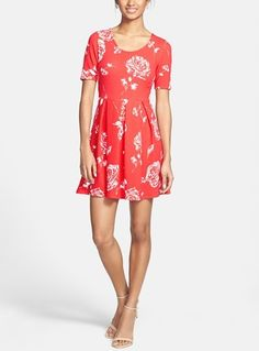 2393068571 Painted Threads Rose Print Skater Dress (Juniors)