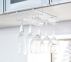 Under cabinet wine glass and champagne glass storage rack