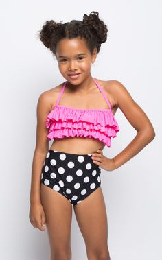 Summer's not over yet, and this amazing high-waist is the just the right amount of pink & polka dots. It features an amazing black and white polka dot high waist bottom and fun and popping pin Swimsuits For Tweens, Kids Swimwear, Moda Tween, Girl Outfits, Cute Outfits, Black Tankini, Kids Suits, Girls Swimming, Cute Bathing Suits