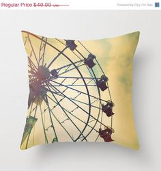 Black Fri Cyber Mon SALE Ferris Wheel Detail, Summer Fair, Carnival Rides - Cushion Pillow Cover only - Home Decor Throw Pillow on Etsy, $28.00