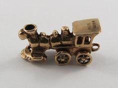 Locomotive Mechanical 9K Gold Vintage Charm For by SilverHillz