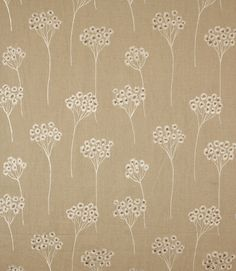 Contemporary curtain fabric with a design depicting stylised cowslips. Made from a viscose and linen mix.