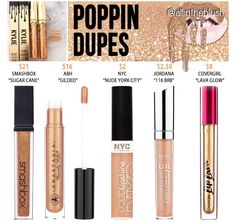 "Kylie Jenner's ""Poppin"" lip gloss dupes Kylie Jenner Dupes, Kylie Lip Kit Dupe, Drugstore Makeup Dupes, Lipstick Dupes, Makeup Cosmetics, Lipsticks, Liquid Lipstick, Matte Lipstick, Dupes Nyx"