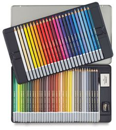 Pastel Pencils, Set of 60 - CarbOthello Pastel Pencil Set, watersoluble pastel pencils, also erasable. REALLY want to try these!  Get the sharpener too, if you buy one of the smaller sets. Larger ones, like this, have sharpener & eraser included in tin. dickblick.com