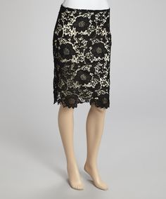 Polished enough for day and fabulous enough for night, this pencil skirt impresses with a feminine lace finish and just-right stretchy construction.Measurements (size M): 29'' long97% polyester / 3% spandexDry cleanImported