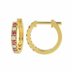 100% Natural 0.30 Ct Diamond Cut Ruby And Diamond Hoop Earrings in Yellow Gold #DIAMONDSNEXUS #Hoop