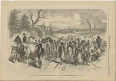 Illustrations of African Americans Freeing Themselves by Moving Toward Union Lines $150