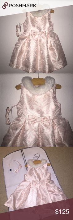 Janie and Jack Bow Forever Collection Outfit NWT Dress new with tag 12-18m ( runs big ) ; Matching headband NWT ; So pretty! In Pastel Pink Janie and Jack Matching Sets