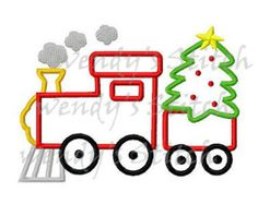 Christmas tree train applique machine embroidery design
