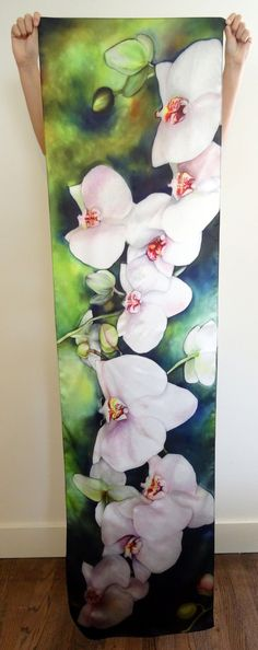 Fabric Painting, Fabric Art, Batik Art, Silk Art, White Orchids, Art Deco Design, Botanical Art, Silk Scarves, Flower Art