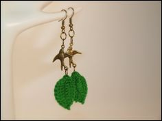 Antiqued Brass Earrings With Lovely Bird Charms And by zima