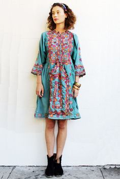 Teal Mirrored Silk Afghan Dress