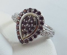 Ladies Garnet CZ Silver Ring~18K White Gold Overlay-Size 7-Free Gift Box