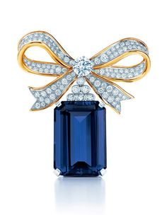 """Tanzanite Brooch """"node"""" Tiffany & Co. brooch in platinum and yellow gold"""
