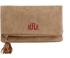 Monogrammed Clutch by silvermooseshop on Etsy