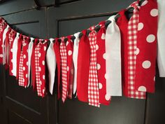 Red and White Picnic Rag Tie Fringe Garland by TheFrozenApple, $30.00