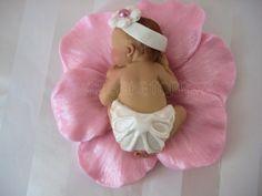 Baby Shower First Birthday FONDANT BABY Flower  Cake Topper. $25.00, via Etsy.