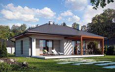 Taras domu Galia drewniana. #projekty #domów Small House Plans, Contemporary Bedroom, My House, Gazebo, Exterior, Outdoor Structures, Patio, Interior Design, Places