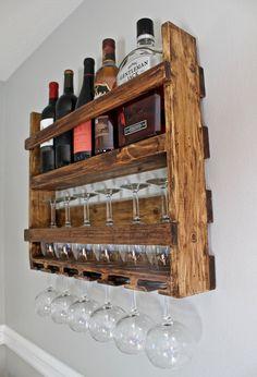 Wooden Wine and Liquor Shelf Wine Shelf by LagomCustomWoodwork Wine Glass Rack, Wine Rack Wall, Diy Home Bar, Bars For Home, Ladder Shelf Diy, Wall Mounted Bar, Rustic Wine Racks, Wine Shelves, Wine And Liquor