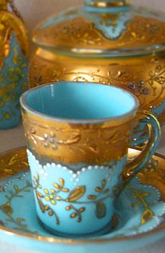 Antique Moser glass in aqua and gold. What s gorgeous blue