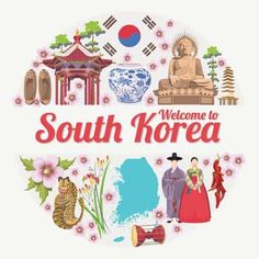 South Korea Travel Poster In Circle. Korea Journey Banner With Korean Objects Stock Vector - Illustration of clothes, card: 77978702 Posters Decor, Bukchon Hanok Village, East Asian Countries, Korean Stickers, Korean Painting, Posters Vintage, South Korea Travel, Harry Potter, Travel Illustration