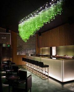 "chandelier ""Bamboo Forest"" by Jitka Kamencova Skuhrava Glass art installation over the bar in Sake No Hana restaurant in London. Restaurant Bar, Restaurant Design, Cafe Bar, Bar Lighting, Lighting Design, Custom Lighting, Lighting Ideas, Deco Luminaire, Glass Installation"