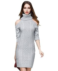 Sexy Off the Shoulder Knitted Sweater Dress Dresses Elegant e037c4616b70