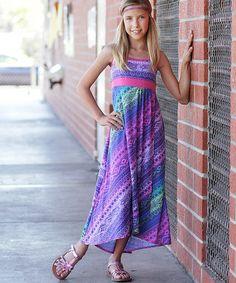 Pink & Purple Batik Maxi Dress - Girls