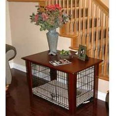 Table over dog crate