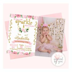 Unicorn Birthday - She Leaves a Little Sparkler - Digital File Only - Print Yourself Pink And Gold Invitations, Unicorn Birthday Invitations, Personalized Invitations, Sparklers, High Quality Images, Pink Girl, Your Child, Rsvp, Leaves