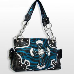 Blue Zebra Rhinestone Cross Purse