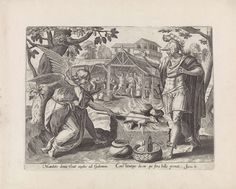 Maerten de Vos | Gideon en de engel, Maerten de Vos, Anonymous, Gerard de Jode, 1585 | De engel doet het geitenbokje en brood, dat Gideon heeft gebracht, ontvlammen. Op de achtergrond de scène die vooraf ging. Gideon ontmoet de engel op de dorsvloer. Gideon en andere mannen houden een dorsvlegel in de hand. Onder de voorstelling een verwijzing in het Latijn naar de Bijbeltekst in Ri. 6.