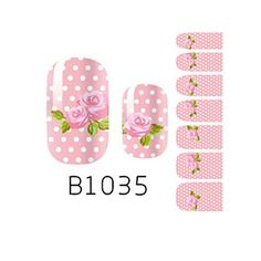 Kaifina 14PCS Fashion Pink Rose Pattern Nail Art Glitter Sticker B1035 >>> Click on the image for additional details.