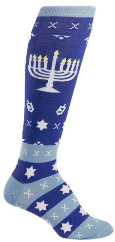 Happy Hanukkah knee-high socks for ladies. bae48297d