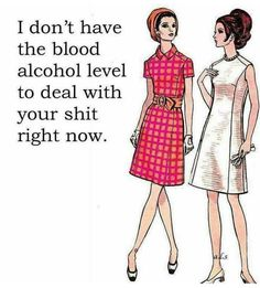 I don't have the blood alcohol level to deal with your shit right now. Good Comebacks, Alcohol Humor, Dark Thoughts, Belly Laughs, Morning Humor, Twisted Humor, E Cards, Funny Cards, Funny Photos
