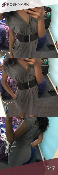 V-neck dark gray dress Size small, deep V-cut dress, has a black band with a working zipper in the middle, makes your butt pops and looks good Missguided Dresses