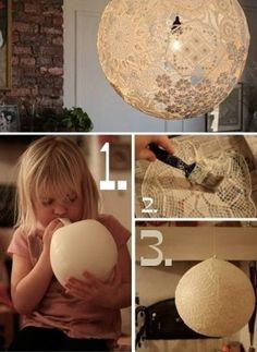 Como fazer luminária de renda com cola e balão de festa - Decore com originalidade ~ VillarteDesign Artesanato.